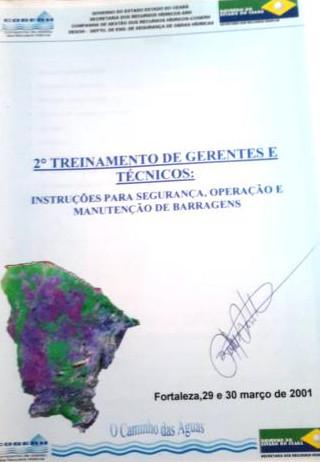 Manual relativo ao 2º treinamento de gerentes e técnicos em segurança de barragem no ano de 2001.
