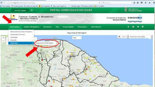 Site do Portal de Segurança de Barragens da COGERH.