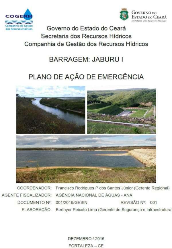Plano de Ação de Emergência para o açude Jaburu I, dezembro de 2016.