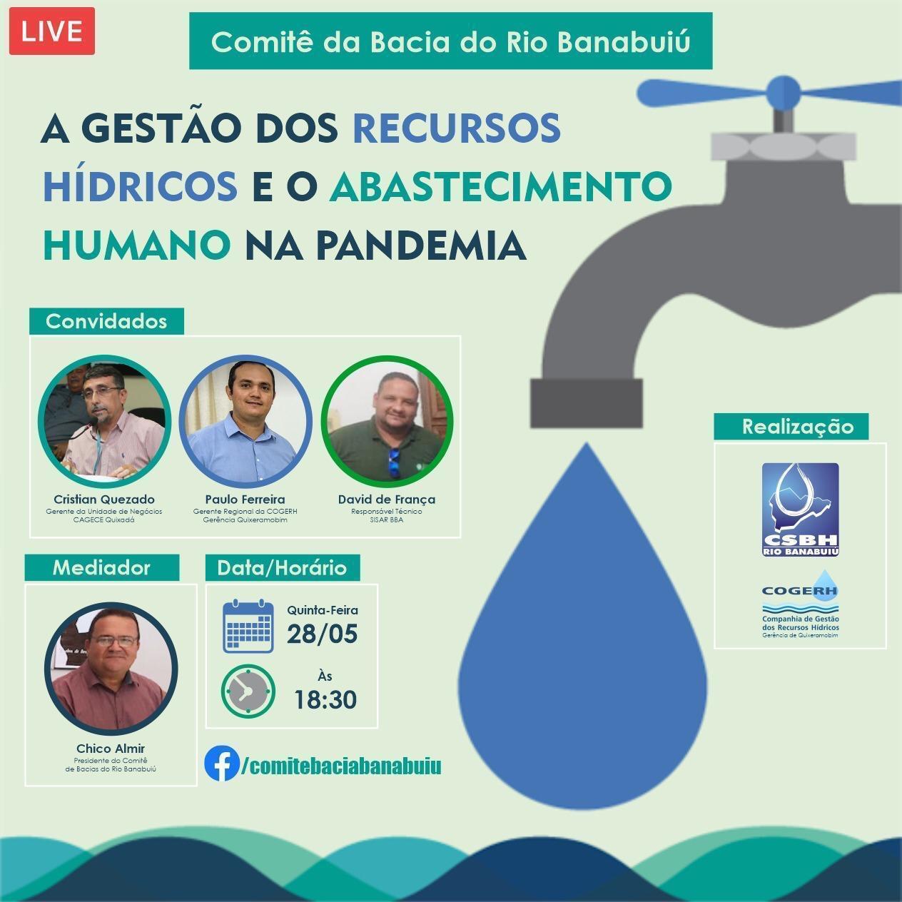Comitê do Banabuiú realiza live sobre gestão de recursos hídricos durante a pandemia